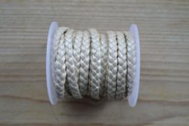 Plat gevlochten rundleer 5 mm Metallic Wit per 10 cm