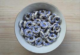 Delfts blauw donut ca. 18 mm (per stuk)