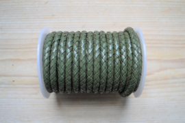 Rondgevlochten leer 6 mm Legergroen per 10 cm