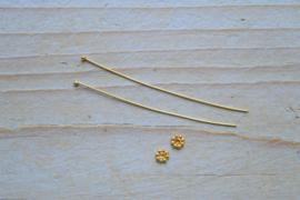 Nietstift verguld sterling zilver met spacer ca. 50 mm (per 2)
