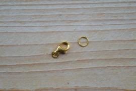 Karabinerverschluss Sterling Silber vergoldet M ca. 8 x 11 mm