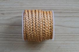 Plat gevlochten rundleer 5 mm Metallic Creme per 10 cm