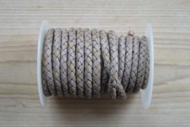 Rondgevlochten leer 6 mm Vintage Lichtgrijs per 10 cm