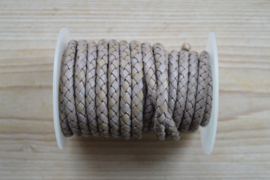 Rundgeflochtenes leder 6 mm Vintage Hellgrau pro 10 cm