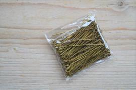 Bronskleurige kettelstiften 45 mm ca. 50 stuks