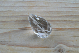 Bergkristal  gefacetteerde ronde druppel A klasse ca. 20 x 30 mm per stuk