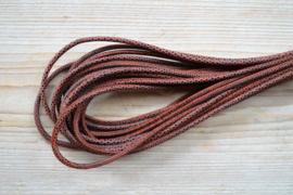 Rond nappaleer Slangeprint 4 mm Bruin per 10 cm