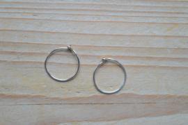 Oorbel sterling zilver  kleine Creool ca. 15 mm (per 2)