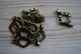 Bronskleurig tussenstuk ca. 22 x 37 mm per stuk