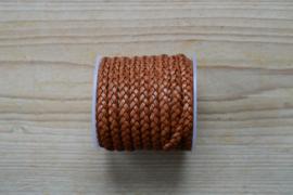 Plat gevlochten rundleer 5 mm Lichtbruin per 10 cm