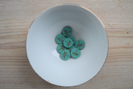 Libelle/Dragonfly Table Cut Bead  Matte Turquoise Green ca. 17x4mm per stuk