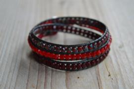 3-fach Wickelarmband Bordeaux/Rot