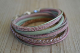 Leather Wrap XL Mint/Roze
