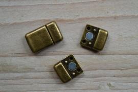 Bronskleurige magneetsluiting 10 mm ca. 13 x 20 mm per stuk