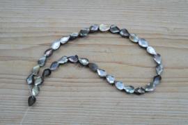 Schelp gefacetteerde platte druppels parelmoer ca. 8 x 12 mm