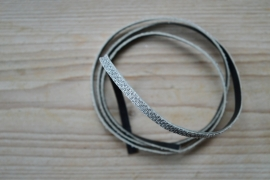 Plat glitterleer 5 mm Zilver per 10 cm