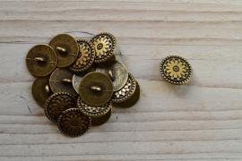Bronskleurige knoop 'ster' ca. 17 mm per 2 stuks
