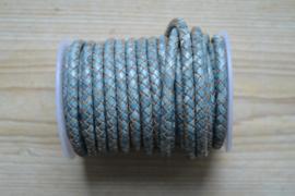 Rondgevlochten leer 6 mm Gemeleerd Blauw per 10 cm