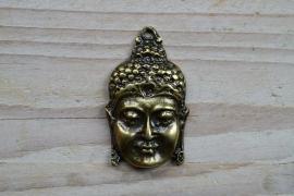 Bronskleurige hanger boeddha groot ca. 28 x 48 mm
