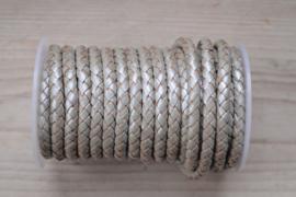 Rundgeflochtenes leder 5 mm Metallic Silber pro 10 cm