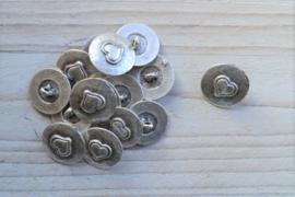 Metalen knoop 'hart' ca. 19 mm per 2 stuks