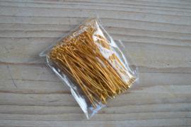 Goudkleurige kettelstiften 45 mm ca. 100 stuks