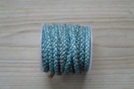 Plat gevlochten rundleer 5 mm Vintage Hemelsblauw per 10 cm