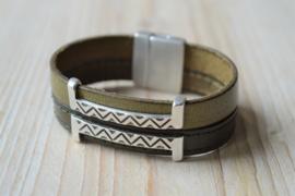 DIY Pakket Armband met magneet en schuiver Olijf