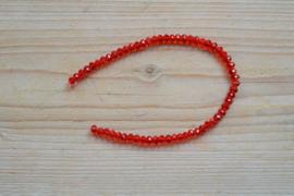 Kristalstreng rood gefacetteerde rondellen ca. 4 x 6 mm