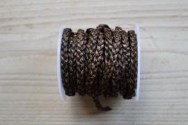 Plat gevlochten rundleer 5 mm Antiek Bruin per 10 cm