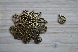 Bronzen `peace` teken ca. 15 x 19 mm per 3 stuks