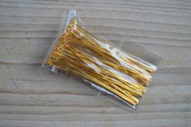 Goudkleurige kettelstiften 70 mm ca. 50 stuks
