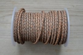Rundgeflochtenes leder 4 mm Vintage Hellgrau pro 10 cm