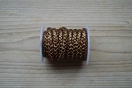 Plat gevlochten rundleer 5 mm Metallic Bronze per 10 cm