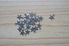 RVS bedel ster ca. 7 x 10 mm per 5 stuks
