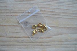 Goudkleurige karabijnslotjes ca. 6 x 9 mm per 5 stuks