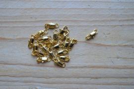 Goudkleurige karabijnslotjes ca. 5 x 10 mm per 3 stuks