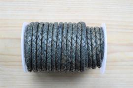 Rundgeflochtenes leder 5 mm Vintage Blau pro 10 cm