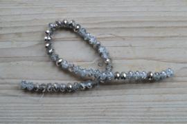 Kristalstreng zilver/transparant gefacetteerde rondellen 6 x 8 mm