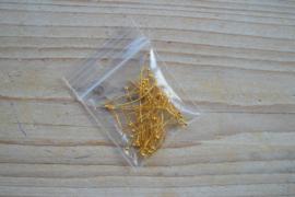 Goudkleurige nietstiften met bolletje 25 mm ca. 50 stuks