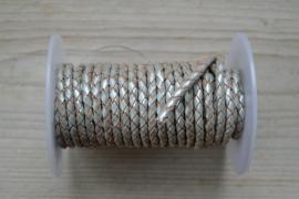 Rundgeflochtenes leder 4 mm Metallisch Silber pro 10 cm