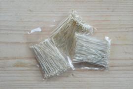 Metalen kettelstiften verzilverd 45 mm ca. 100 stuks
