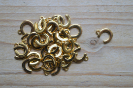 Goudkleurige bedel hoefijzer ca. 11 x 14 mm per 3 stuks