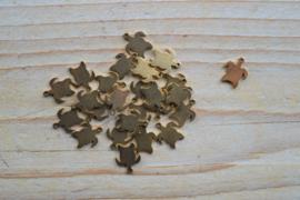 RVS Gold plated bedel schildpad ca. 9 x 11 mm per stuk