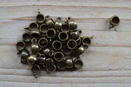 Bronskleurige bedelhanger ca. 7 x 11 mm per 5 stuks