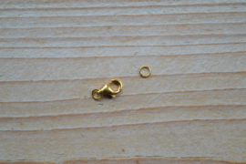 Karabijnsluiting verguld sterling zilver klein ca. 5 x 8 mm