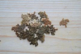 RVS Gold plated bedel levensboom ca. 14 x 15 mm per stuk