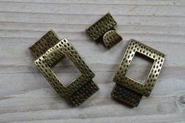 Bronskleurige haaksluiting 15 mm ca. 25 X 49 mm per stuk