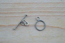 Kapittelsluiting sterling zilver gedraaid 'middel' ca. 12,5 mm