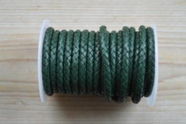 Rondgevlochten leer 6 mm Donkergroen per 10 cm